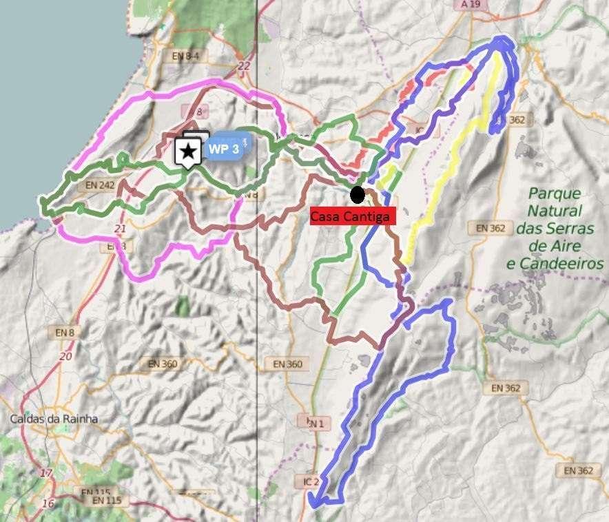 MTB kindvriendelijk vakantie park Portgal Casa Cantiga overview map mountain bike tracks